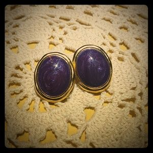 Vintage Trifari Purple Swirl Oval Post Earrings